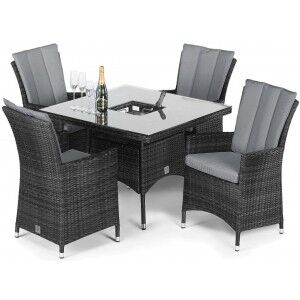 Maze Rattan Garden Furniture LA Grey 4 Seat Square Dining Set with Ice Bucket