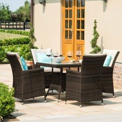 Maze Rattan Garden Furniture LA Brown 4 Seater Square Dining Table Set