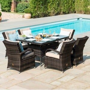 Maze Rattan Garden Furniture  Texas Brown 6 Seater Rectangle Ice Bucket Table Set