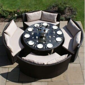 Maze Rattan Garden Furniture Dallas Brown Sofa Dining Set
