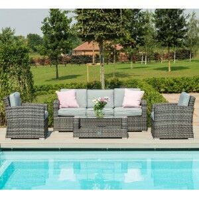 Maze Rattan Garden Furniture Kingston Grey 3 Seater Sofa Set