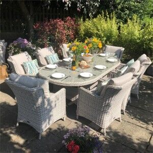 Royalcraft Garden Furniture Seychelles 8 Seater Oval Comfort Dining Set