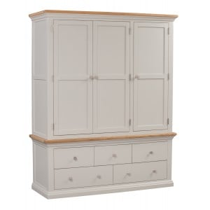 Cotswold Solid Oak Cream Painted Furniture Triple Wardrobe