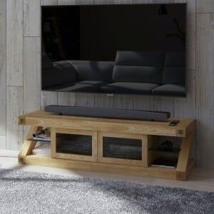 Z Solid Oak Furniture Glazed TV Unit