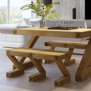 Z Solid Oak Furniture Dining Table Small Bench
