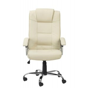 Houston Cream High Back Leather Executive Office Chair