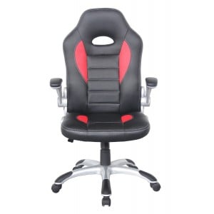 Talladega Black and Red Faux Leather Racing Office Chair