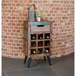 Coastal Chic Reclaimed Wood Wine Rack Lamp Table