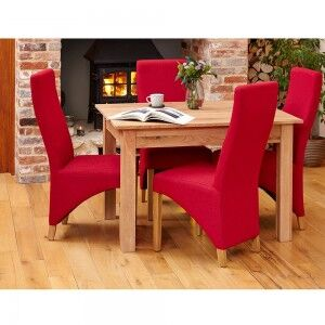 Mobel Oak Furniture Four Seater Dining Table & Red Fabric Chair Set
