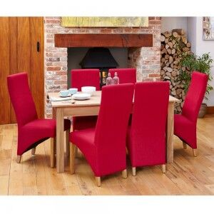 Mobel Oak Furniture Six Seater Dining Table & Red Fabric Chair Set