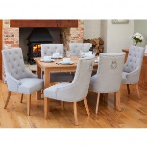 Mobel Oak Furniture 150cm Dining Table & Six Grey Fabric Chair Set