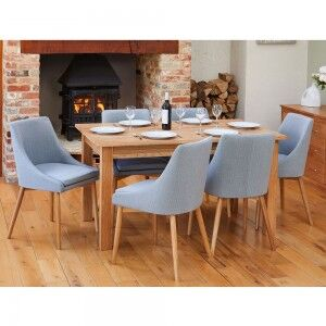 Mobel Oak Furniture 150cm Six Seater Dining Table & Grey Chair Set