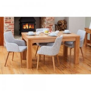 Mobel Oak Furniture 150cm Four Seater Dining Table & Slate Chair Set