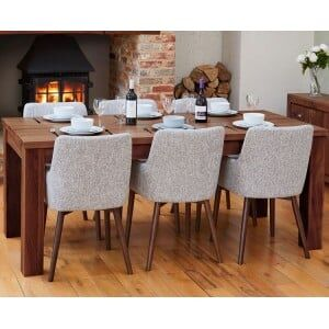 Mayan Walnut Furniture 150cm Dining Table & Six Light Grey Dining Chair Set