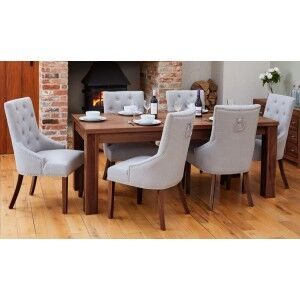 Mayan Walnut Furniture 150cm Dining Table & Six Narrow Back Dining Chair Set