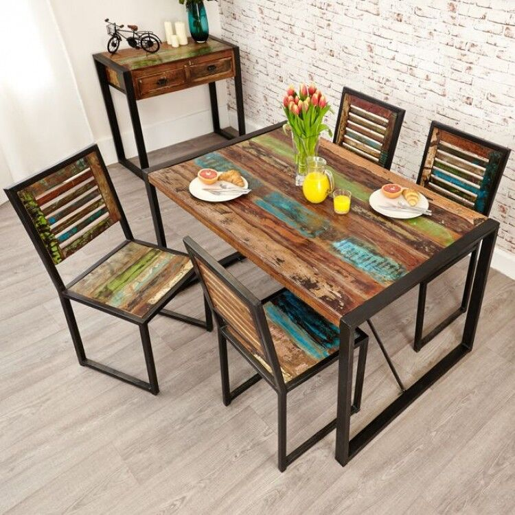 New Urban Chic Furniture 140cm Dining Table & Four Dining Chair Set