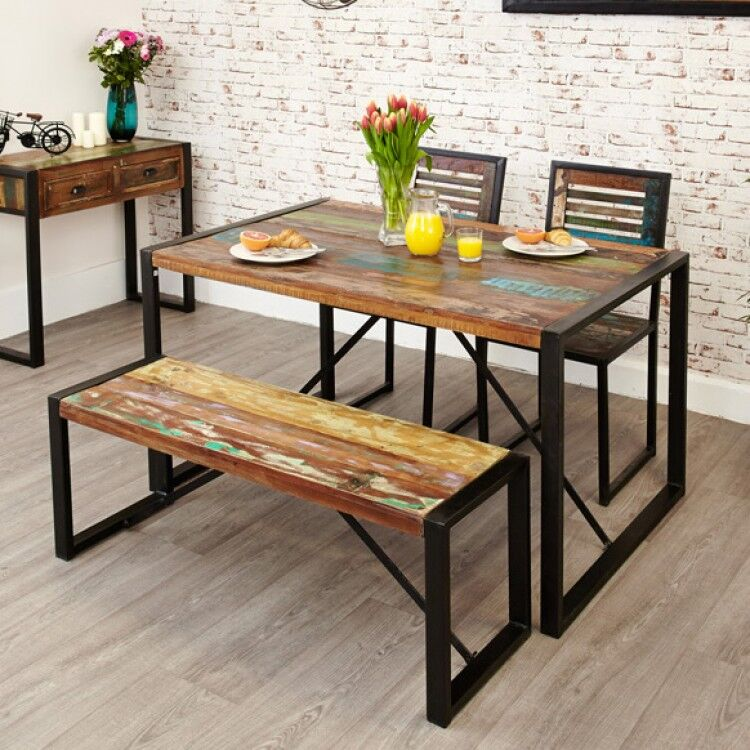 New Urban Chic Furniture 140cm Dining Table & Two Dining Chair Set with Small Dining Bench