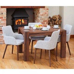 Shiro Walnut Furniture 4 Seater Dining Table & Light Grey Chair Set