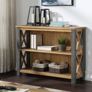 Urban Elegance Reclaimed Wood Furniture Low Bookcase