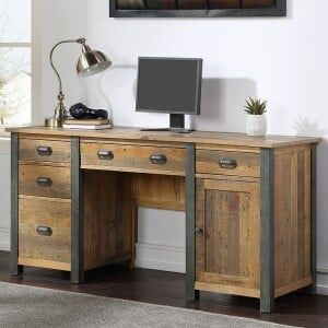 Urban Elegance Reclaimed Wood Furniture Twin Pedestal Home Office Desk