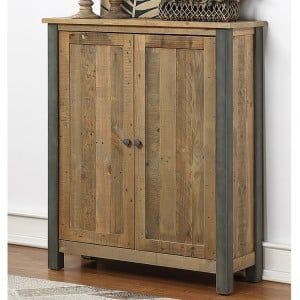 Urban Elegance Reclaimed Wood Furniture Large Shoe Storage Cupboard