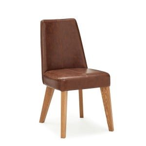 Bentley Designs Cadell Rustic Oak Tan Faux Leather Chair (Pair)