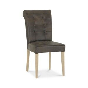 Bentley Designs Chartreuse Aged Oak Upholstered Leather Chair (Pair)