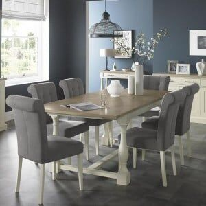 Bentley Designs Chartreuse White Dining Table & Smoke Grey Chair Set