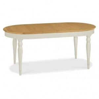 Hampstead Soft Grey & Pale Oak Furniture Oval Extending Table 231cm