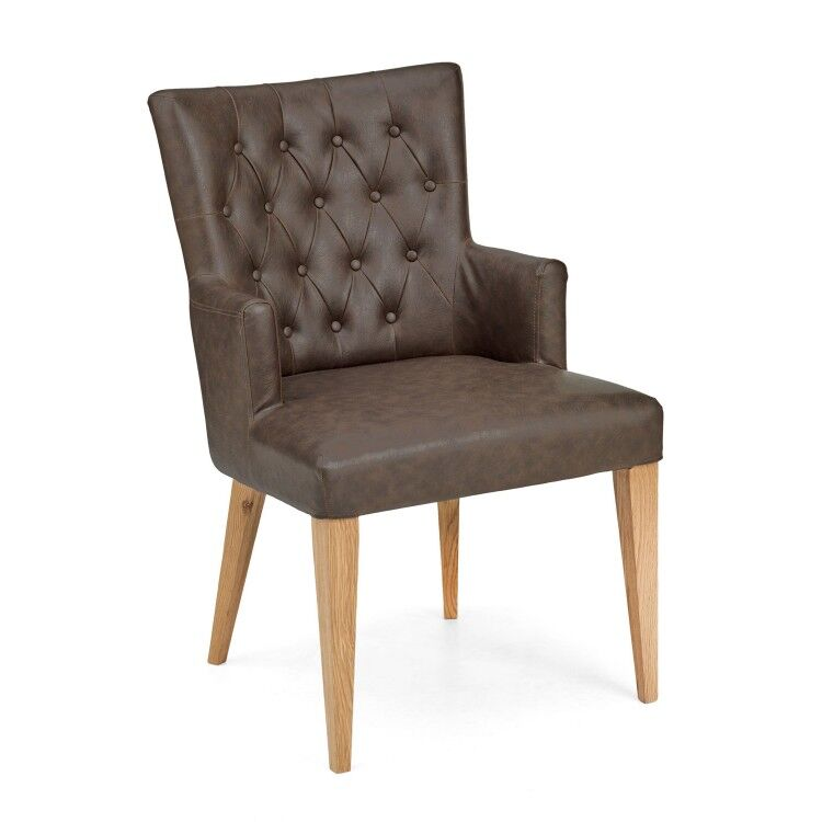Bentley Designs High Park Upholstered Arm Chair Pair - Brown Leather
