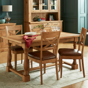 Bentley Designs Westbury Rustic Oak Dining Table & 2 Cross Back Chair