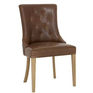 Bentley Designs Westbury Oak Upholstered Arm Chair Tan (Pair)