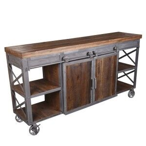 Arkwright Industrial Furniture Sideboard With 2 Sliding Barn Doors