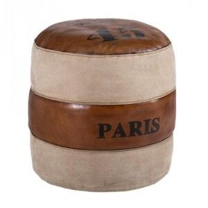 Eclectic Leather and Fabric Furniture Paris Round Pouffe
