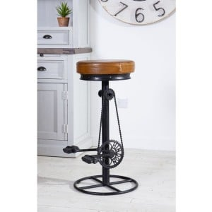 Eclectic Metal Furniture Leather Cycle Bar Stool