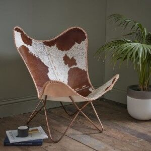 Eclectic Vintage Furniture Iron and Cowhide Leather Butterfly Chair