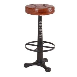 Eclectic Metal Furniture Round Stool With Footrest