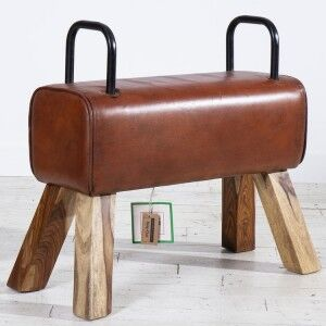 Eclectic Reclaimed Wood Furniture Pommel Horse Leather Small Dining Bench