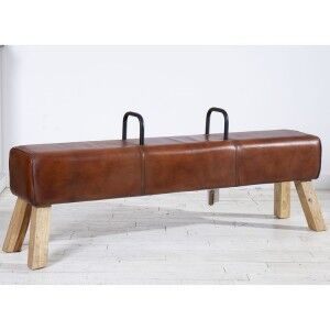 Eclectic Reclaimed Wood Furniture Pommel Horse Leather Large Dining Bench