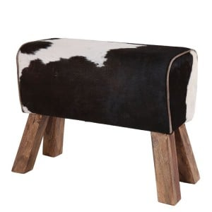 Eclectic Reclaimed Wood Furniture Cowhide Leather Pommel Horse Stool