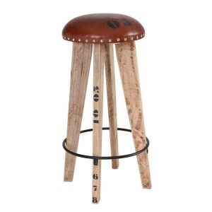 Eclectic Reclaimed Wood Furniture Round Stool with Leather Pad & Iron Footrest