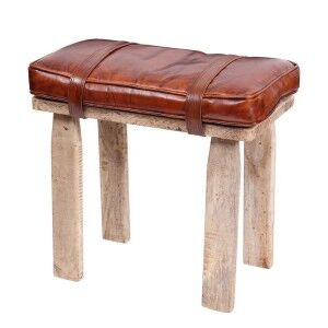 Eclectic Reclaimed Wood Furniture Saddle Bag Style Leather Stool