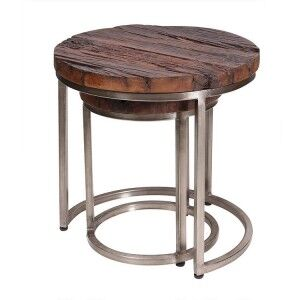 Eclectic Reclaimed Wood Furniture Nest Of 2 Round End Tables