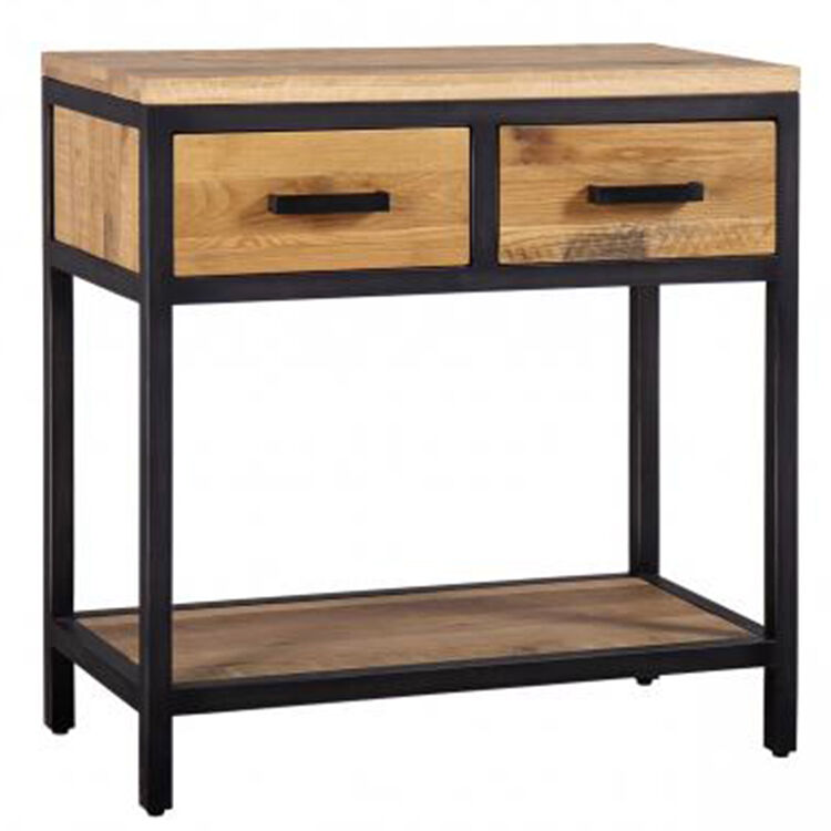 Forge Iron and Solid Oak Furniture 2 Drawer Hall Table with Oak Shelf
