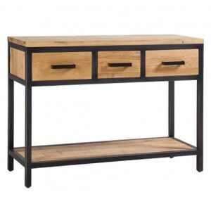 Forge Iron and Solid Oak Furniture 3 Drawer Hall Table with Oak Shelf