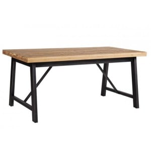 Forge Iron and Solid Oak Furniture Large Rectangular Fixed Top Dining Table 180cm KD