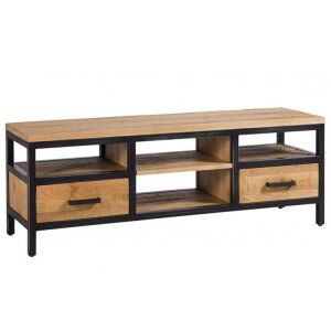 Forge Iron and Solid Oak Furniture Large TV Unit