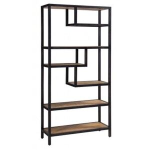 Forge Iron and Solid Oak Furniture Shelf Rack