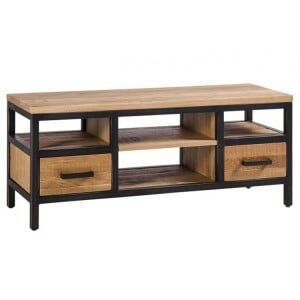 Forge Iron and Solid Oak Furniture Small TV Unit