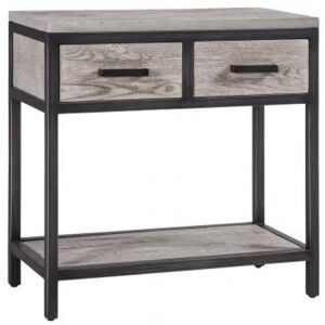Forge Iron and Weathered Oak Furniture 2 Drawer Hall Console Table